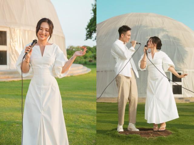 Nguyên Hà diện váy trắng tinh khôi, hát live Cuối tuần tình tứ với Minh Min