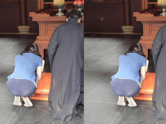 Mặc quần mỏng dính đi chùa, người phụ nữ để lộ mồn một nội y vô cùng phản cảm