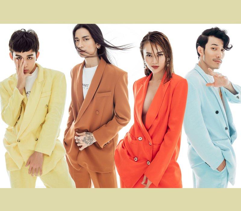 Khi khoác lên mình những bộ suit thanh lịch mang đầy màu sắc, mỗi người lại biến hóa với từng phong cách khác nhau. Giữa dàn nam thần kín đáo, Lan Ngọc lại chọn style 'thả rông' trong mẫu suit cam chói lọi.