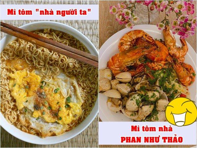 Mì tôm nhà người ta và của chồng Phan Như Thảo nấu cho vợ sao khác một trời một vực!