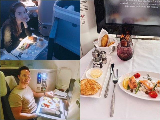Bữa ăn xa xỉ của sao Việt trên máy bay, nhìn người cuối cùng mới thấy sang chảnh cỡ nào