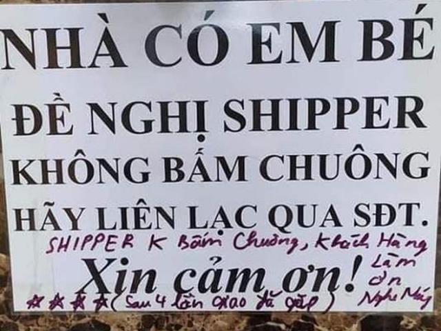 Không muốn shipper bấm chuông vì sợ phiền con, nào ngờ gặp giao hàng có tâm để lời nhắn hài