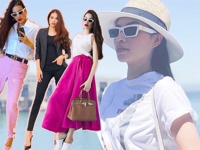 Không còn váy áo đính kết lụa là, Phạm Hương đơn giản năng động với quần jean và áo sơmi