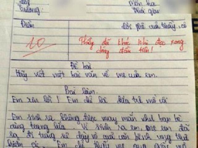 4 bài văn tả mẹ: Thầy giáo chấm 10 điểm, bật khóc ngay khi đọc dòng đầu tiên