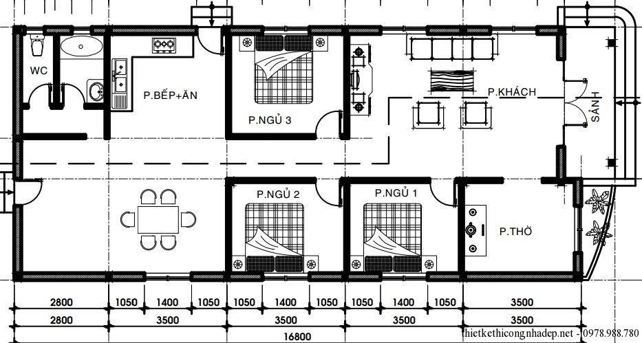 Những mẫu nhà cấp 4 đẹp 100m² chỉ với 350 - 400 triệu đồng cho mọi gia đình - 18
