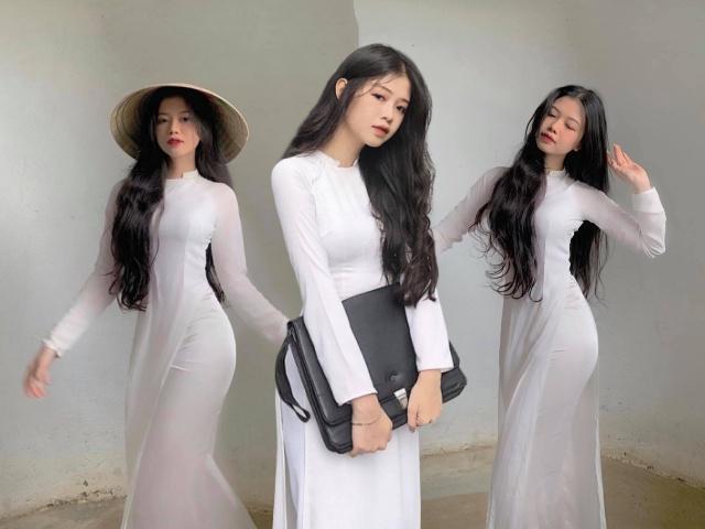 Diện áo dài trắng, nữ sinh hút mắt với ba vòng hoàn hảo sau lớp vải mỏng manh