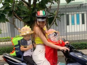 Hải Băng chở con 2 tuổi hớ hênh trên xe máy, dân mạng thót tim vì nguy hiểm