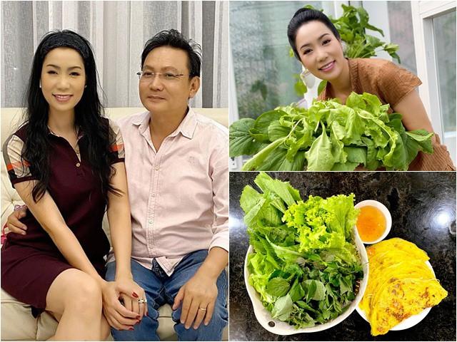 Ông xã trồng rau xum xuê, Trịnh Kim Chi thích thú ra tay làm bánh xèo đãi cả gia đình
