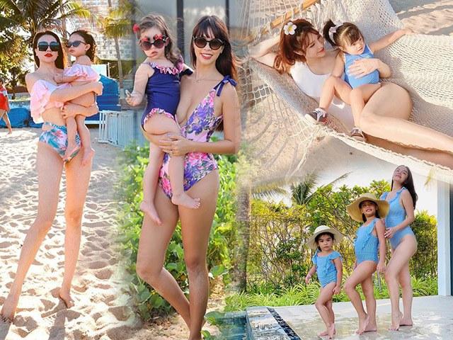 Khi mỹ nhân Việt và con gái diện đồ bơi: mẹ khoe body nõn nà, con bụ bẫm đáng yêu