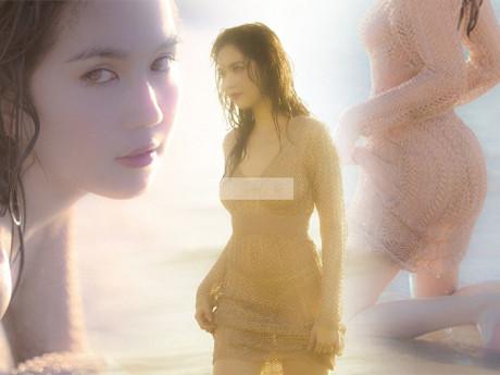 Ngọc Trinh lại chơi trội: mặc váy len xuống biển chụp hình nhưng quên luôn nội y ngực