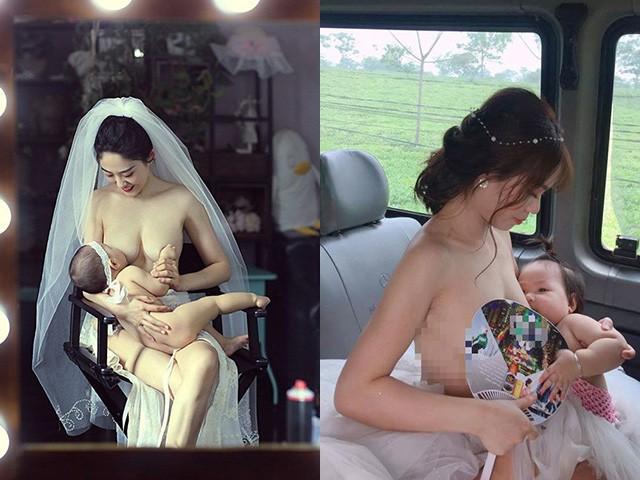Khoảnh khắc cô dâu ngực trần cho con bú, dân mạng: Bố đứa trẻ thật là hạnh phúc