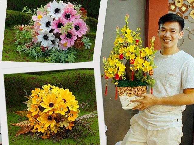 Chàng trai Bến Tre chi 25 nghìn đồng cắm hoa đầy màu sắc, biết chất liệu mới ngỡ ngàng