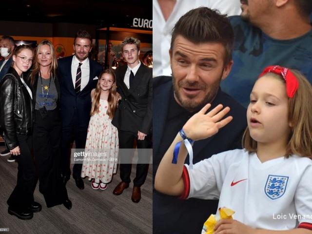 Chung kết Euro 2020: Nhóc Harper theo Beckham đi coi bóng, chiếm spotlight của siêu mẫu Kate Moss