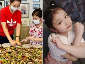 Con gái Hoa hậu Jennifer Phạm cùng mẹ nấu cơm gà, cháo bào ngư gửi tuyến đầu chống dịch