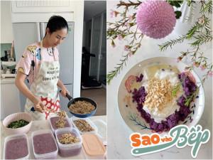 Sao vào bếp: Hoa hậu đảm nhất vịnh Bắc Bộ khoe loạt món ăn từ khoai lang tím đẹp mắt