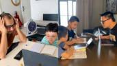 """Con học online ở nhà: Huỳnh Đông ôm đầu bất lực, BTV Quang Minh ngồi kèm """"sát sàn sạt"""""""