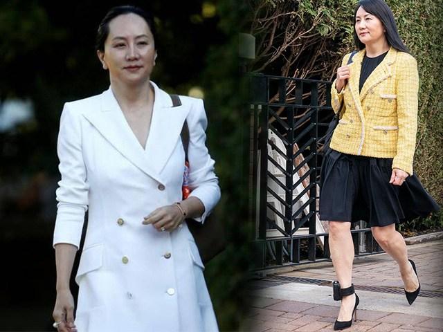 Đại công chúa Huawei thời bị giam lỏng,đeo vòng giám sát: Vẫn mặc sang chảnh, chân xỏ giày hiệu