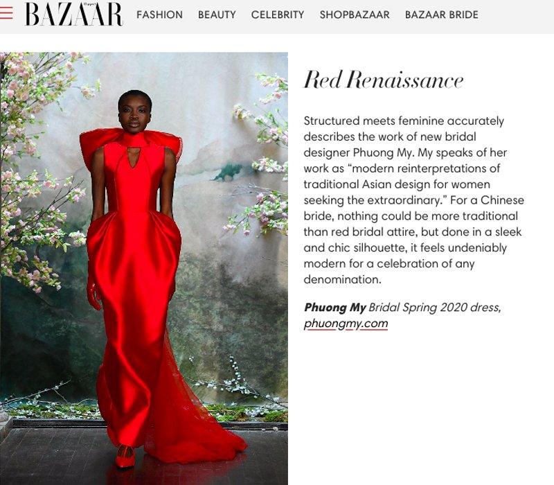 Ngạc nhiên hơn cả, trong bài viết của tờ báo thời trang danh giá này còn tôn vinh 2 mẫu đầm cưới nằm trong bộ sưu tập Espoir từng được NTK Phương Mytrình diễn tại New York Fashion Week Bridal.