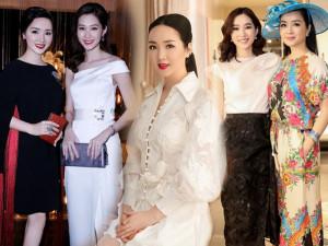 """Bao lần """"so kè"""" với Hoa hậu Giáng My, Đặng Thu Thảo dù kém 20 tuổi vẫn như chị em"""