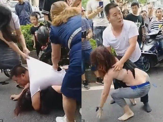 Vợ đánh ghen lột đồ tình nhân giữa đường, phản ứng của chồng mới đáng phẫn nộ