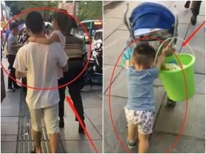 Bố bế tình nhân nhỏ đi trước, con trai lẽo đẽo xách đồ phía sau, ai nhìn cũng thương