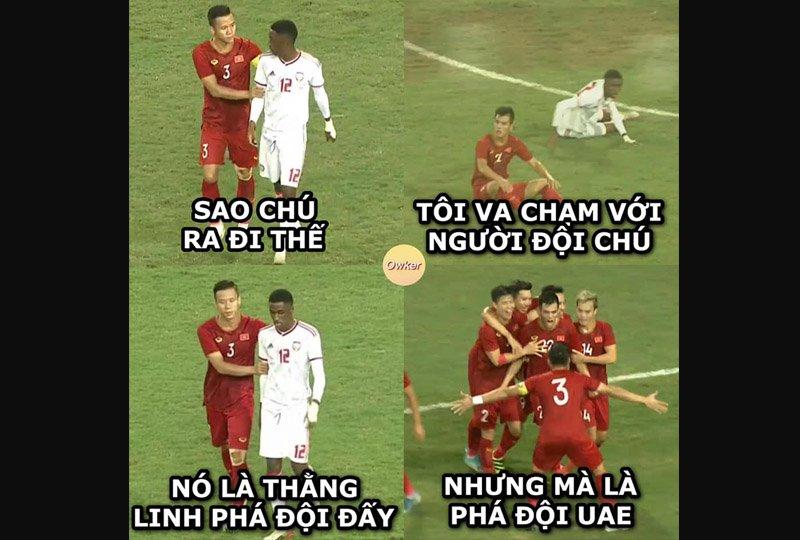 Đức Huy thường hay trêu chọc, gọi vui Tiến Linh là 'Linh phá đội'. Trong trận gặp UAE tối ngày 14/11, biệt danh này được nhiều ngườicông nhận, nhưng là 'phá' đội UAE.