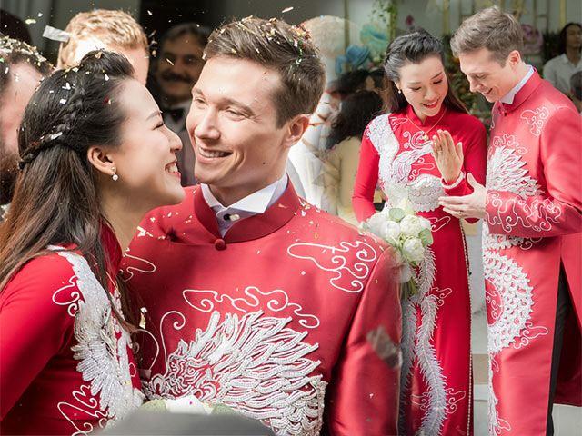 Á hậu Hoàng Oanh và chồng tây diện áo dài đôi long phụng đẹp như mơ trong ngày cưới