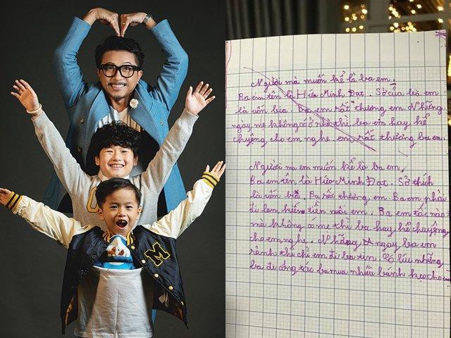 Con trai Hứa Minh Đạt - Lâm Vỹ Dạ làm khán giả tan chảy vì bài văn tả bố