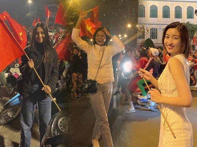 HHen Niê, Đỗ Mỹ Linh ăn mặc giản dị  xuống phố đi bão ăn mừng chiến thắng