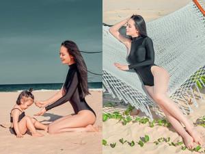 Làm mẹ - 2 năm sau đám cưới 10 tỷ, hotmom HHHV lần đầu chụp áo tắm vì con, lộ dáng tuyệt mỹ