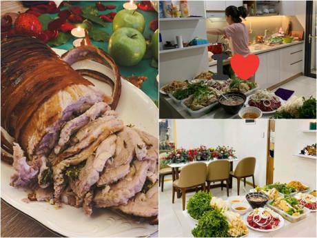 Đại tiệc nhà sao Việt đêm Giáng sinh: Nhìn tảng thịt nhà Phan Như Thảo mà thấy no nê