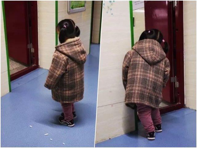 Bé gái nước mắt lưng tròng đứng phạt trước cửa lớp và sự thật khiến ai cũng bật khóc