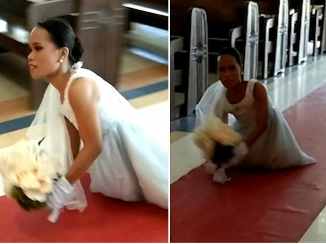 Cô dâu không chân tự mình lết vào lễ đường, cảnh tượng khiến ai cũng xúc động