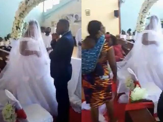 Người phụ nữ địu con xông vào đám cưới nói chú rể là chồng mình, cô dâu phản ứng lạ