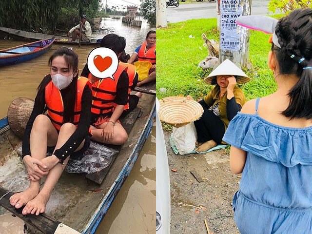 Thuỷ Tiên mang 40 tỷ cứu trợ miền Trung, con gái lại có hành động này với người ăn xin