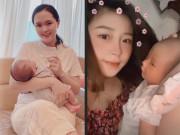 Sau sinh Quỳnh Anh da mơn mởn, vợ hotgirl của Văn Đức than thức khuya chăm con mặt sần sùi