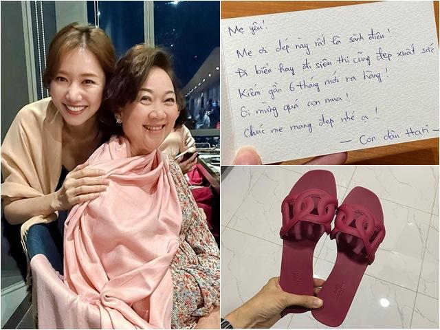 Sao Việt 24h: Hari Won khoe tặng dép cho mẹ chồng, đáng chú ý là dòng chữ trên tấm thiệp
