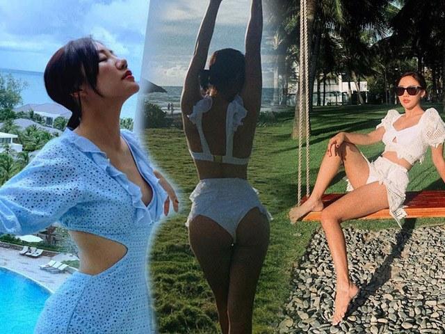 Mặc kín hẳn sau scandal clip nhạy cảm, Văn Mai Hương hiếm hoi diện bikini khoe body nuột