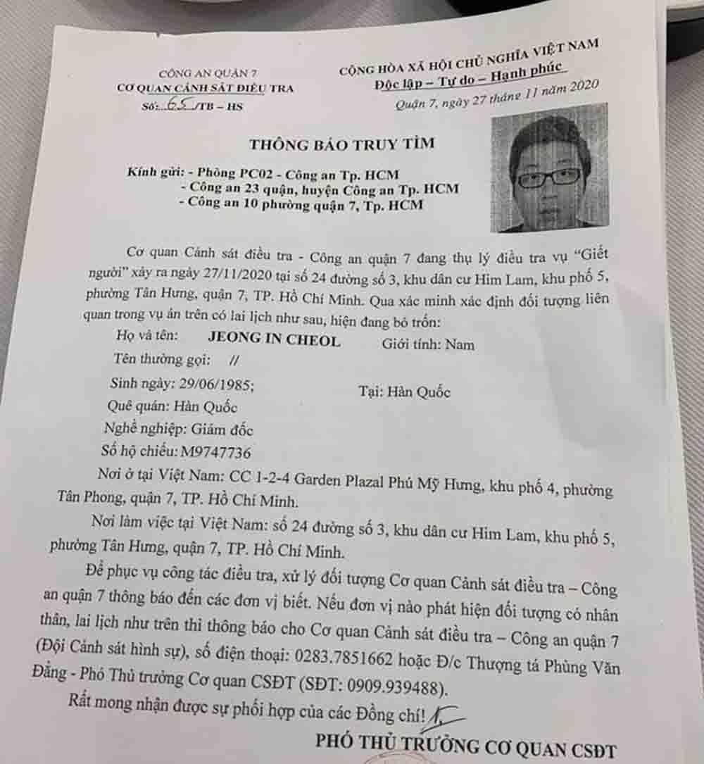 Vụ thi thể không nguyên vẹn ở TP.HCM: Truy tìm giám đốc 35 tuổi người Hàn Quốc