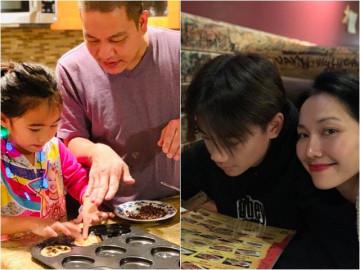 Chồng Việt kiều hì hụi làm bánh cùng con gái, phản ứng của con riêng Kim Hiền mới đáng bàn