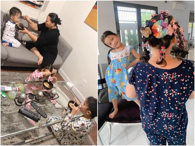 Cảnh chăm 3 đứa trẻ vất vả hộ Vân Ốc, Trí Rùa của người giúp việc khi đi Mỹ, Hàn