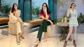 """Khác hẳn hội vợ đại gia mê hở, Đàm Thu Trang """"lên đồ"""" công sở kín từ đầu đến chân"""
